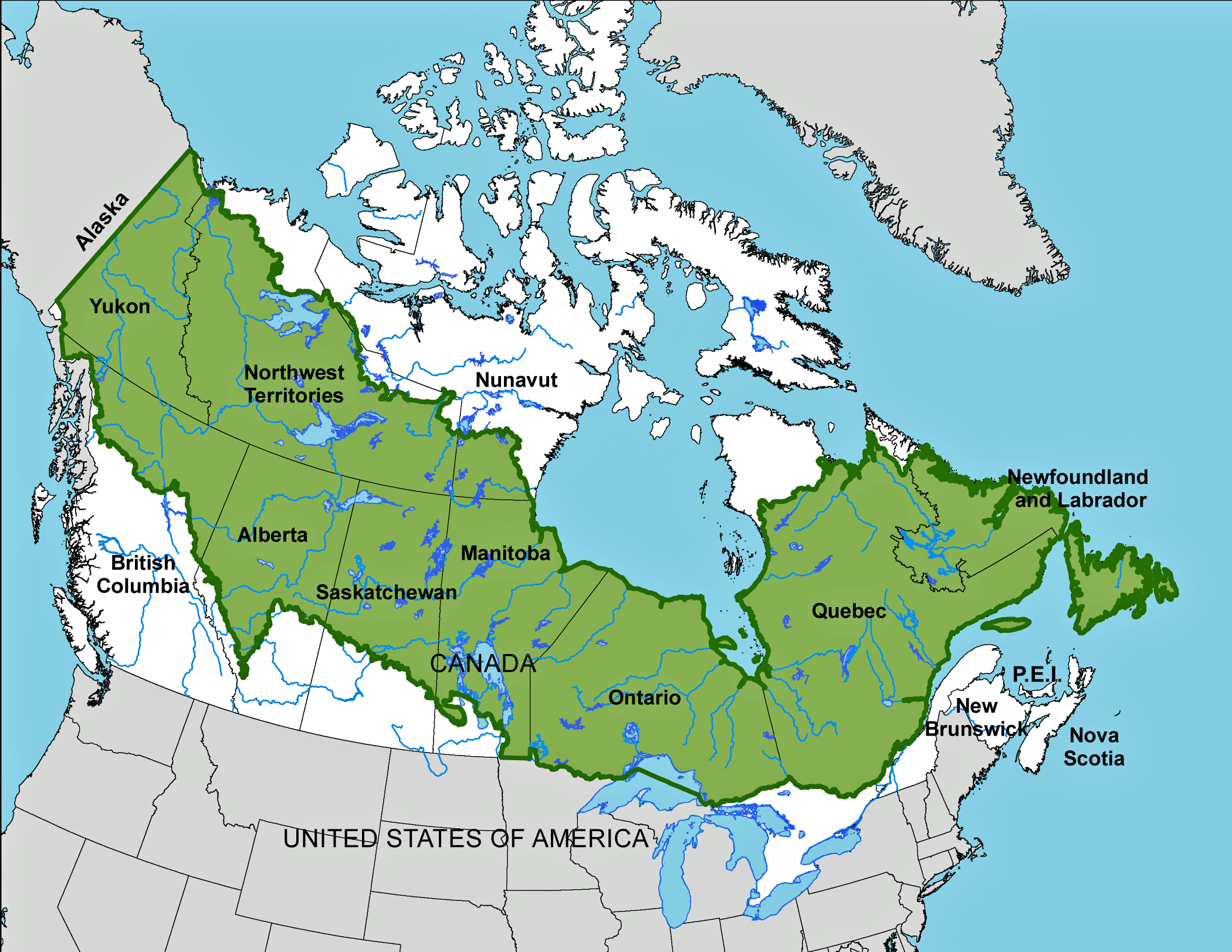 Map showing northern segment of North America and the southern tip of Greenland. The boreal forest is colored dark green and extends in a belt across Canada.