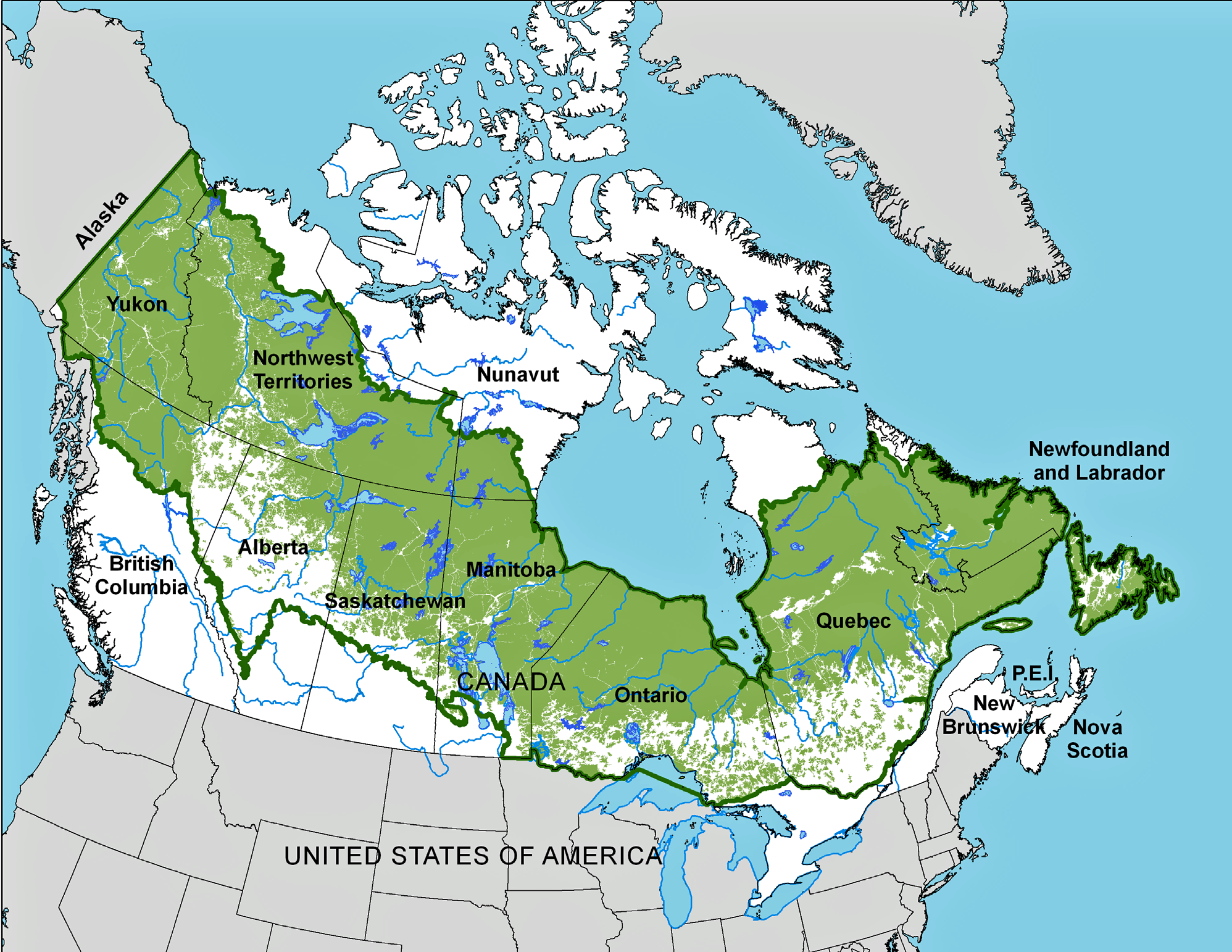 Map is the same as previous, with a belt of white creeping in at the south end of the belt, signifying loss of forest for farming and development.