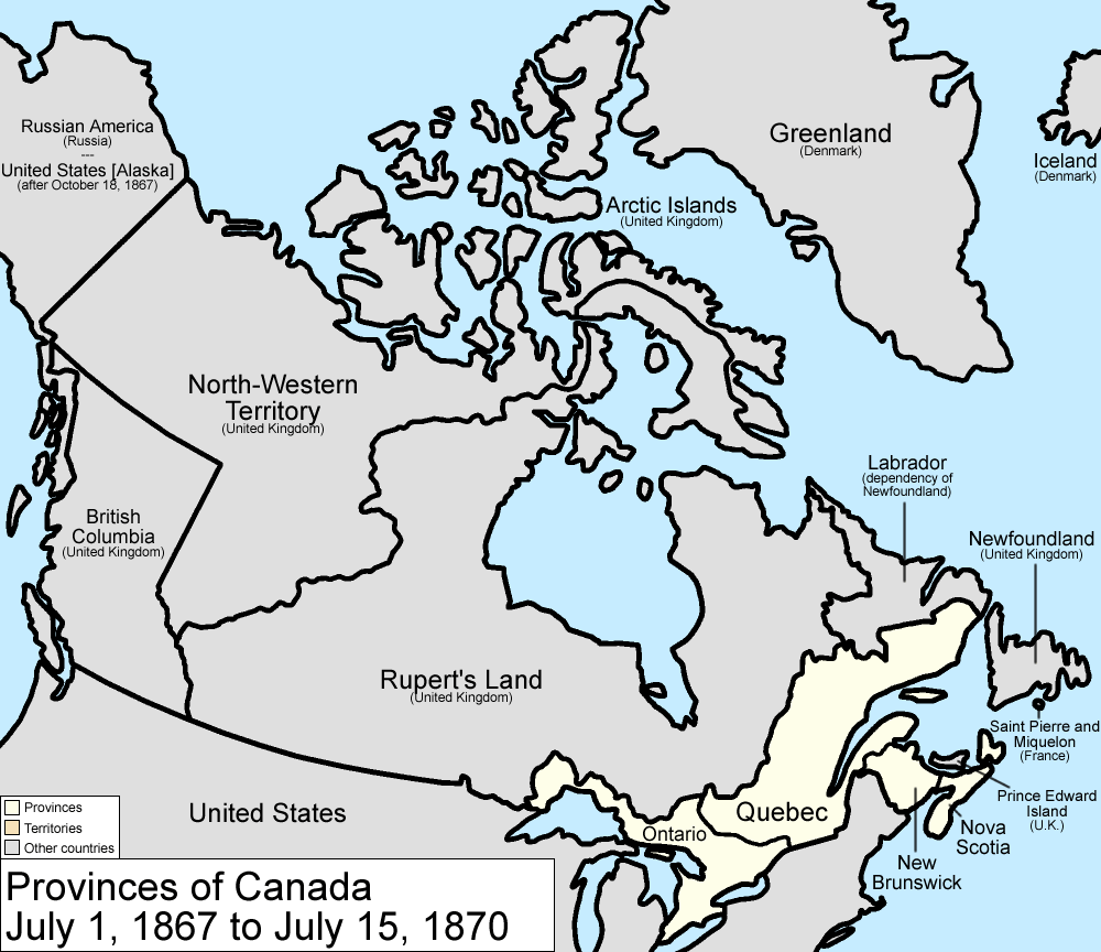 A simple map shows the land claims in Northern North America of 1867-70