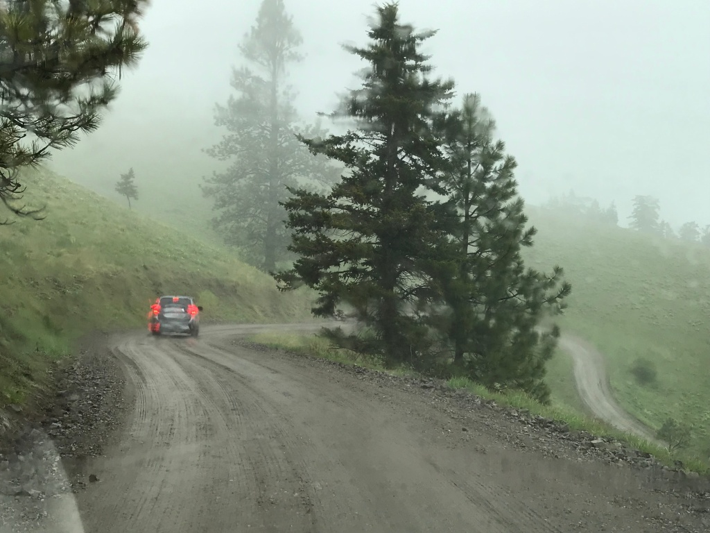 A car driving on a winding, slick road in mist and fog brakes.
