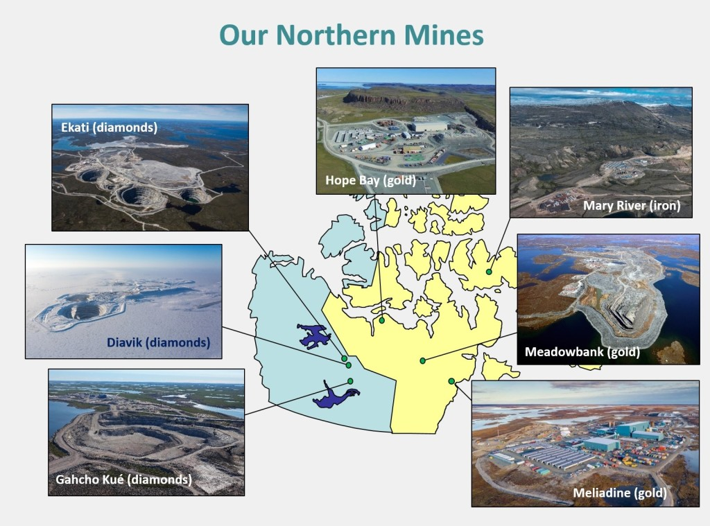 "A display of ""Our Northern Mines"", including a map and photos from each mine."