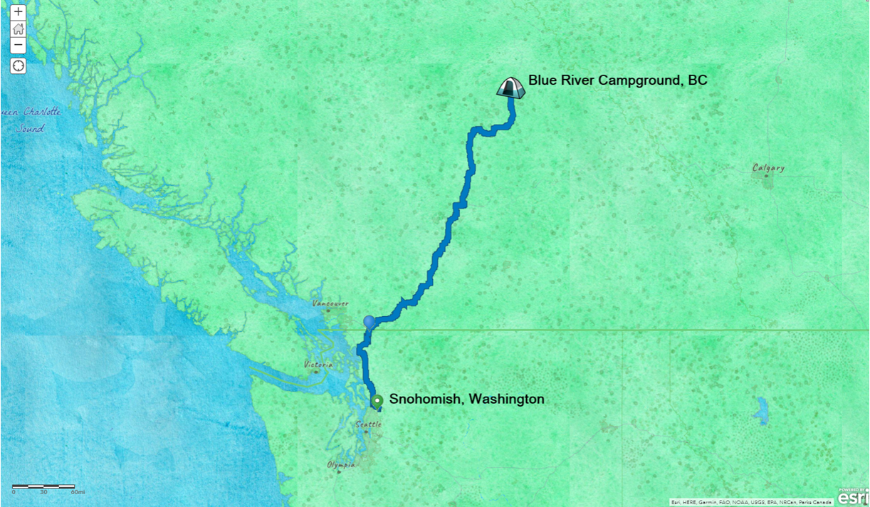 Watercolor map showing Snohomish WA and Blue River Campground, with my driving route shown as a blue line.