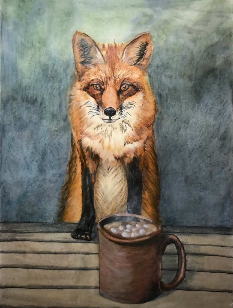 A sketch of a fox propped by its front feet on a picnic table, over a mug of steaming cocoa with marshmallows.
