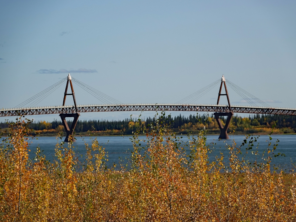 The Deh Cho Bridge rises above the river, a gentle arc with two braces that anchor stay cables supporting the span.