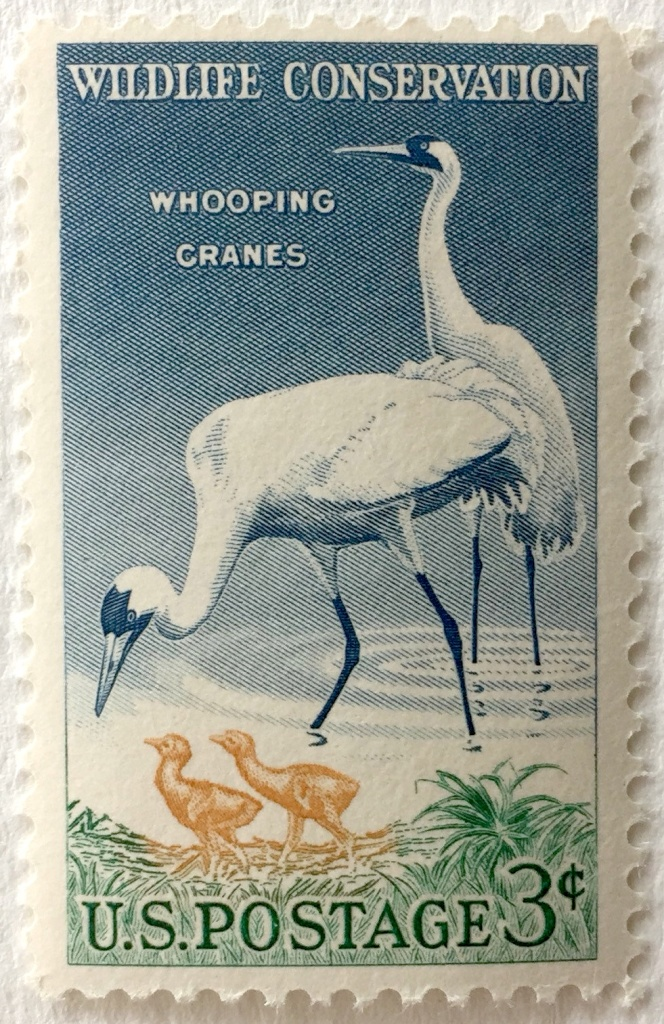 "Old postage stamp in ""woven"" style showing two whooping crane adults taking care of two chicks."