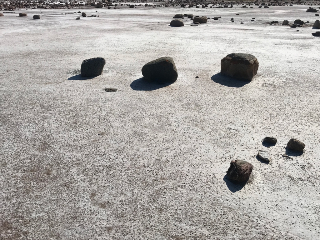 Dark rocks are randomly strewn across the whitish salt plain.
